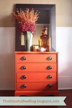 Bright orange dresser