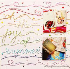 #papercraft #scrapbook #layout.  Oh, the Joys of Summer #scrapbook layout by paperpilekitten at @Studio_Calico