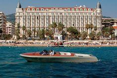 Aquariva in front of the InterContinental Carlton hotel, in Cannes, on the French Riviera. Photograph by Todd Eberle.