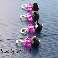 10 Pink  Black Beaded Charms... DIY Jewelry by SweetlyScrappedArt, $4.00