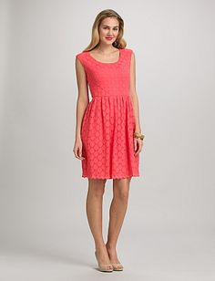 Coral Lace Dress   Dressbarn