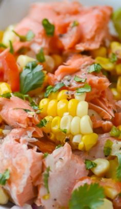 Grilled Salmon and Corn Salad