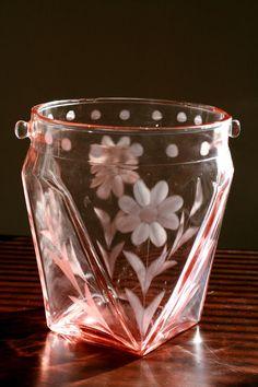Vintage 1930s Pink Depression Glass Ice Bucket
