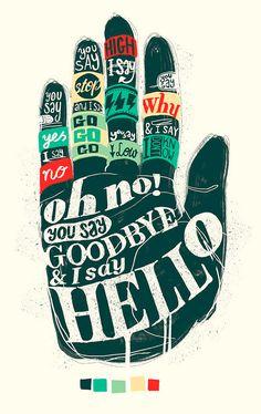 hello, hand, graphic design, song, lyric, typography poster, graphicdesign, art, beatl