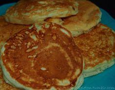 White Chocolate Pancakes    1 Pancake: 85 Calories, Fat 2g ,Protein 6, Carbs 22g  Ingredients:  •1 1/4 Cups Whole Wheat Flour  •2 Teaspoons Baking Powder  •1 Egg  •1 Cup Skim Milk  •1/2 Cup Almond Unsweetened Milk  •1/2 Teaspoon Potassium Salt  •1 Packet Truvia  •2 Servings White Chocolate Pudding Powder (Kraft)  •1 Tbsp Almond Bark Shavings