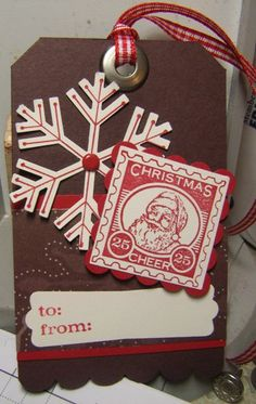 Christmas gift tag ideas. Stampin' Up! Tag