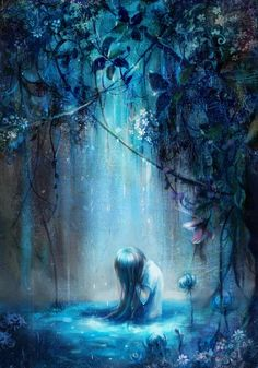 forests, white lights, beauty, anime art, anime girls, people, beauti blue, illustr, blues