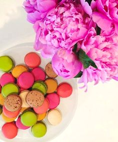 Macarons and peonies.