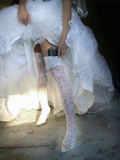Bride high stock, girl, por si, brides, thigh highs, the bride, humor, quot, gun