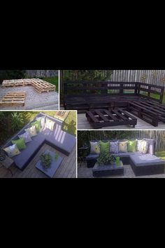 DYI patio furniture using crates! This is too cool. I would love Jason to make me this