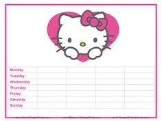 hello kitty sticker chart printable To motivate Clare to behave!!