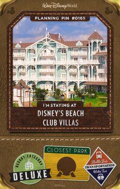 Walt Disney World Planning Pins: Disney's Beach Club Villas