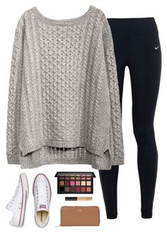 """Sweater weather"" by halledaniella ❤ liked on Polyvore featuring NIKE, Huda Beauty, Converse, Coach and NARS Cosmetics"