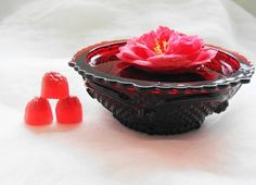 Red Glass Bowl Red R