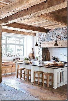 exposed beams, decorating kitchen, rustic kitchens, kitchen interior, design kitchen, stone wall, kitchen designs, wood beams, dream kitchens