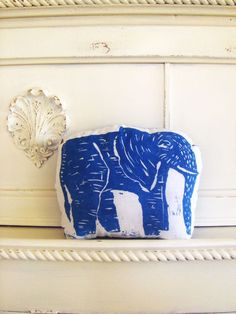Plush Elephant Pillow. Woodblock Printed.Customizable Colors. Made to order.. $16.50, via Etsy.