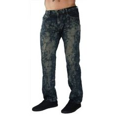 "F.U.S.A.I. Jeans Paint Splatter 30"" Inseam Distressed Denim Pants Mens Relaxed (Apparel)"