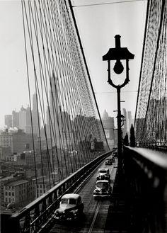 NUC. New York Harbor, Looking Toward Manhattan from the Footpath on Brooklyn Bridge, October, 1946