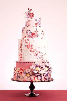 10 Vintage-Floral Wedding Cakes #watters #wedding #cake www.pinterest.com/wattersdesigns/