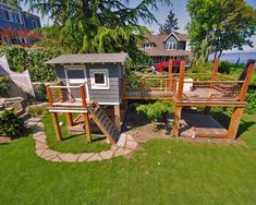 Design Your Own Garden Playhouses For Children: Playhouse On Side Yard Beach Style Landscape Sandbox Climbing Plyhouse Deck Removable Grates On Top Of The Box ~ aureasf.com Terrace