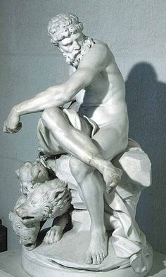 Augustin Pajou, Pluto Enchaining Cerberus, Marble, The Louvre