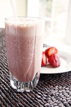 chocolate, banana and strawberry protein shake....delicious!   1 banana   - 3 strawberries   - 2 tbsp chocolate protein powder   - 1 cup water, organic milk, soy milk or almond milk   - 4-5 ice cubes