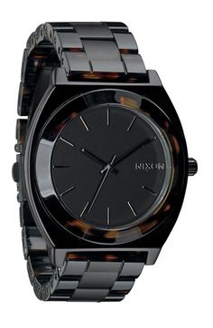 Nixon 'The Time Teller' Watch Matte Black/ Tortoise One Size