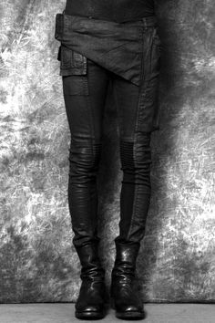patched asymmetrical pants with pockets