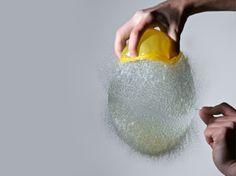 lemons, photographs, explosions, water balloons, art