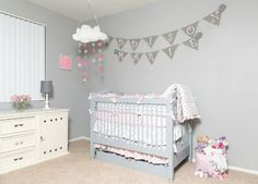 This is DeAnna Pappas Stagliano's (of Bachelorette fame) Soft Gray and Pink Nursery - #nursery