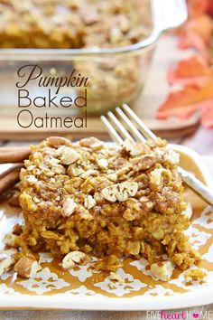 Pumpkin Baked Oatmeal with Maple & Pecans {Dairy-Free}