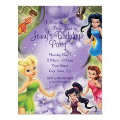 Personalized Tinker Bell and Friends Birthday party Invitations from Disney.