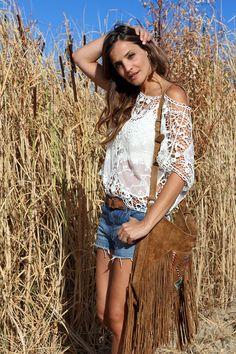 Bohemian crochet, denim cut offs & fringed cross body. Loving this pretty lady's style!  #bohemian ☮k☮ #boho