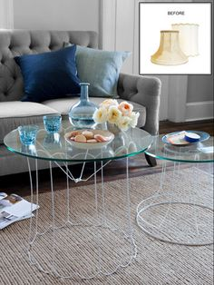 Lampshade-Frame Cocktail Tables