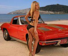 beaches, american car, beach babe, corvettes, red, car girl, bikinis, blond, car babe