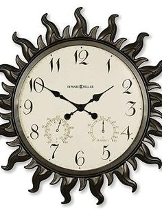 Keep an eye on the time, humidity and temperature while enjoying the outdoors with the Sunburst Outdoor Wall Clock by Howard Miller.