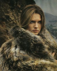 Toni Garrn in Vogue Italia November 2008 by Steven Meisel   natural   beauty   fur   brunette   woman   powerful   strength  
