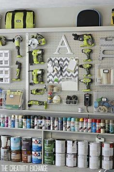 Garage storage. I want this wall in my garage complete with #ryobi green tools!!