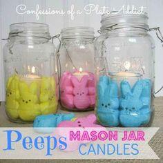 Easter bunny peeps + mason jars = adorable candleholders!