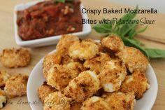 Crispy Baked Mozzarella Bites with Marinara Sauce - #Appetizer #Recipe