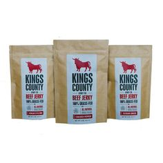 Beef Jerky Variety 3Pk by Kings County Jerky now $26 on @Fab. You're a jerky kinda guy, and everybody knows it. Indulge your leanings—you bovine-obsessed masticator—with some of the finest beef in the Northeast. Sourced from Brooklyn's own Kings County, this Variety Pack features its best flavors including Sichuan Ginger, Korean BBQ, and Cracked Pepper Beef Jerky. Three kinds of delicious beef, all locally-sourced just for you, ya jerk. Includes three 2oz bags, one of each flavor.
