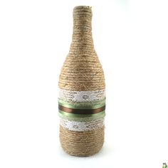 Decorative Vase, Wine Bottle Wrapped in Jute and Ribbon, Rustic Green and Brown Wedding Centerpiece