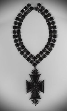 Victorian Jet Mourning Pendant Necklace.
