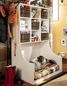 Dog stuff central. This would be amesome on one side of a mud room with the bench & shelves on the otherside for the kids! mud rooms, pet beds, dog beds, hous, cubbi, puppi, place, storage ideas, dog stuff