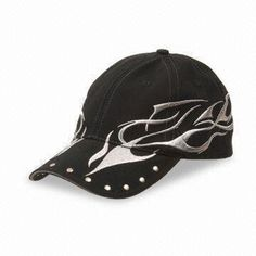Cotton Baseball Cap in Black Color, Customized Designs, Materials and Logos Accepted