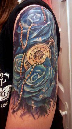 Time for Roses munki, lee, first tattoo, bodi art, clock, dayton, a tattoo, ink, blue roses