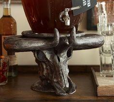 Steer Head Drink Dispenser Stand #potterybarn