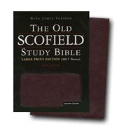 The Old Scofield Study Bible, KJV, Large Print Edition Genuine Leather Burgundy, Indexed - Imperfectly Imprinted Bibles