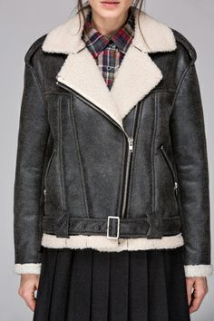 Leather look jacket with faux fur collar - FrontRowShop
