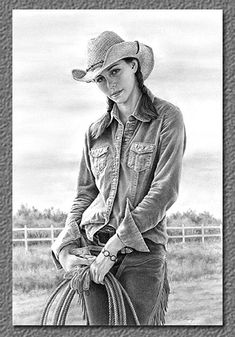 Early Morning Riser~Cindy Long's earliest memories are of holding a pencil in her hand, spending hour after hour drawing on any surface available. Educated and employed in commercial graphic design for a number of years,... that of drawing people, specifically cowboys, cowgirls, and people of the West. Her sensitive portraits depict these individuals' strong presence and demeanor.